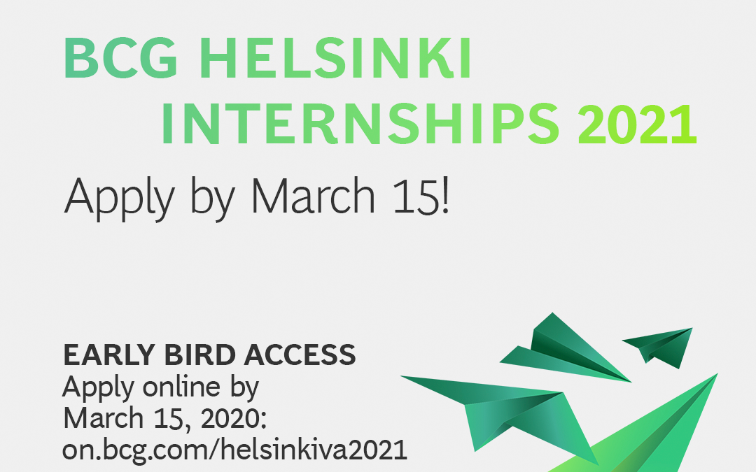Ready to join us? Internships at BCG Helsinki
